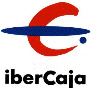 Logotipo de Ibercaja, letra C en rojo y un óvalo horizontal en azul