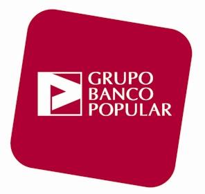 Logotipo Grupo Banco Popular, Letras en blanco con fondo rojo, granate