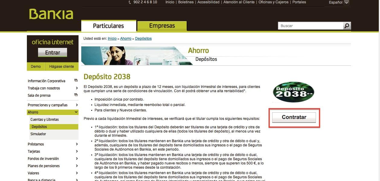 Dep sito 2038 de bankia comparativa de dep sitos for Bankia oficina internet