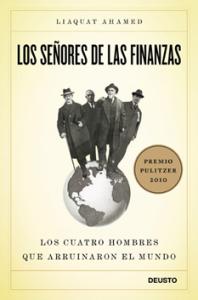 Portada del libro, Los señores de las finanzas, cuatro banqueros sobre una bola del mundo