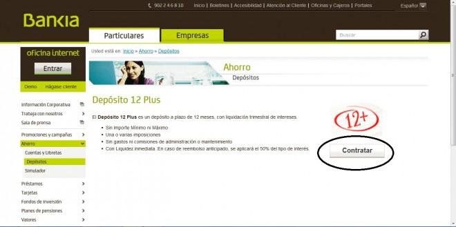 Dep sito 12 plus especial de bankia comparativa de dep sitos for Bankia oficina de internet