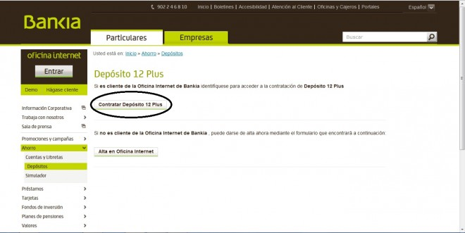 Dep sito 12 plus especial de bankia comparativa de dep sitos for Bankia oficina de internet entrar