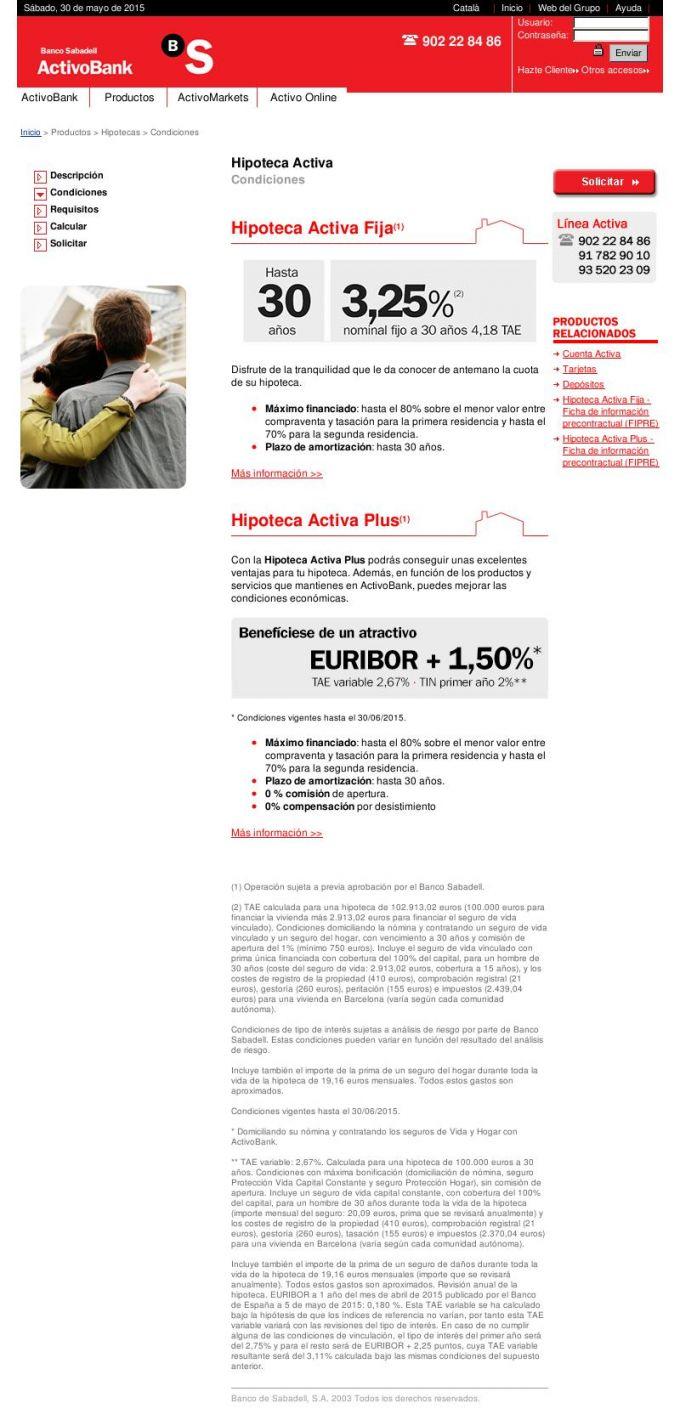 Hipoteca activa plus Proceso de contratación 1