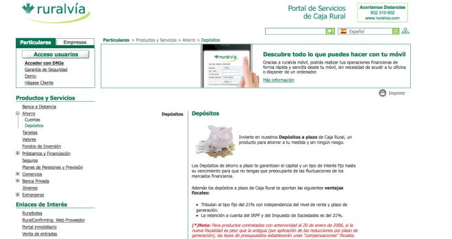 Dep sito ruralv a 6 de caja rural de granada for Caja rural granada oficinas