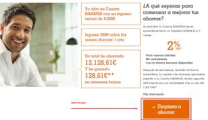 Proceso de contratación de la cuenta naranja - Paso 1